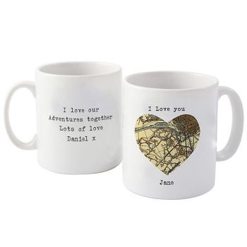 1896 - 1904 Revised New Map Heart Mug
